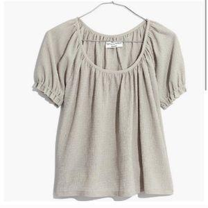 Madewell texture & thread short sleeve peasant top